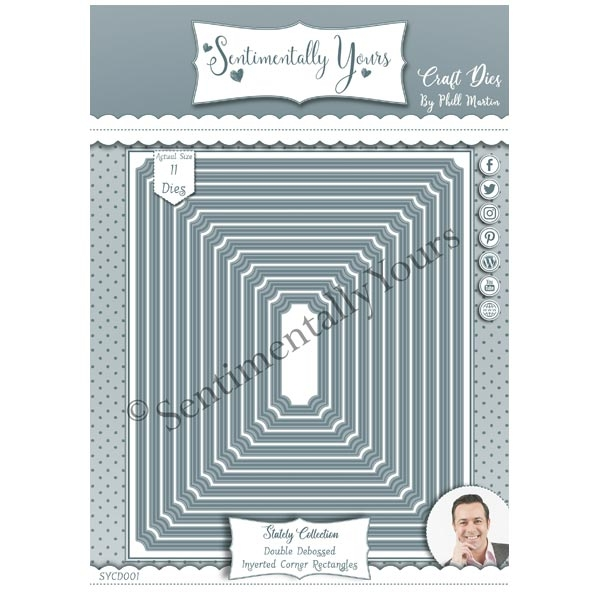 Phill Martin Sentimentally Yours Dies Double Debossed Inverted Corner Rectangles Stately Collection
