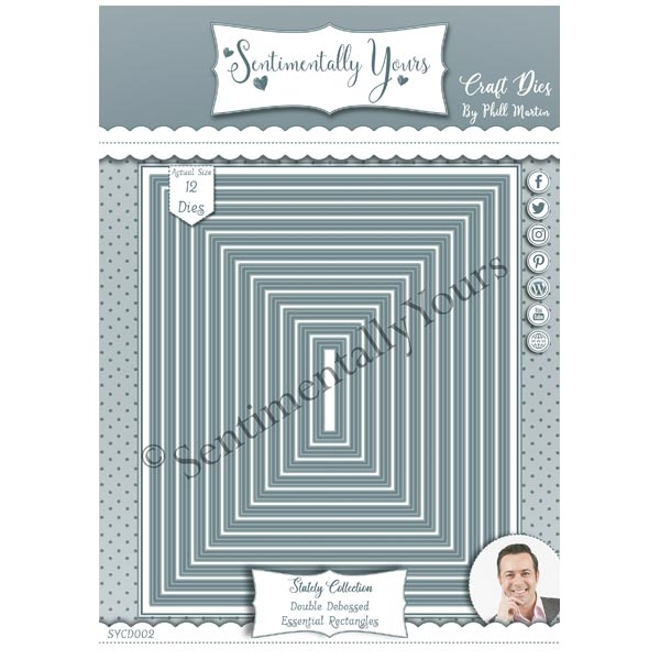 Phill Martin Sentimentally Yours Die Set Double Debossed Essential Rectangles | Stately Collection