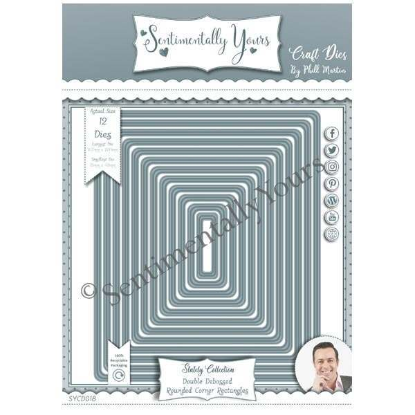 Phill Martin Sentimentally Yours Die Set Stately Rounded Corner Rectangles | Set of 12